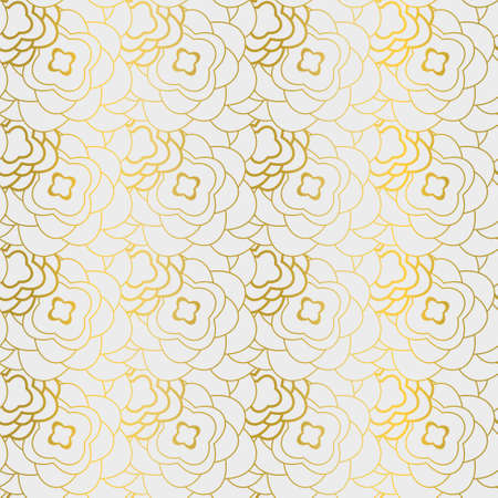 Modern  geometric layered seamless pattern with gold flowers.