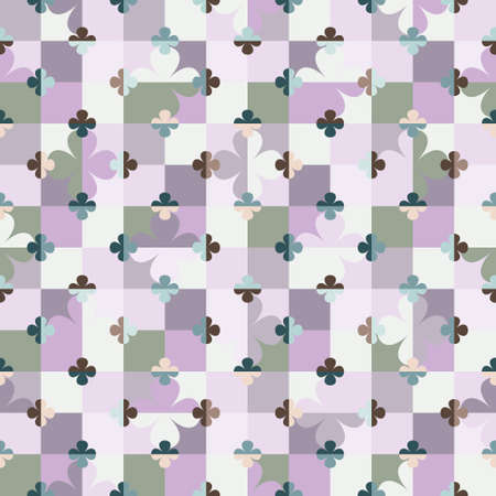 Abstract geometric seamless pattern with stylized big and little flowers on chessboard in retro style. Illustration