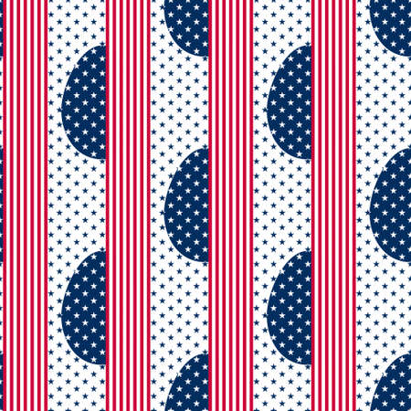 Easter Eggs seamless pattern decorated with colours and symbols of the USA flag