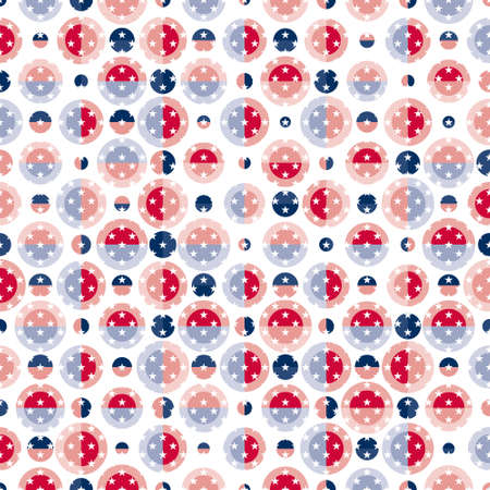 Geometric seamless pattern decorated with colours and symbols of the USA flag.