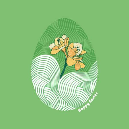 Cute Vector Easter Egg illustration with orange Freesia flower on green background. Decorative greeting card or poster with spring love symbols.