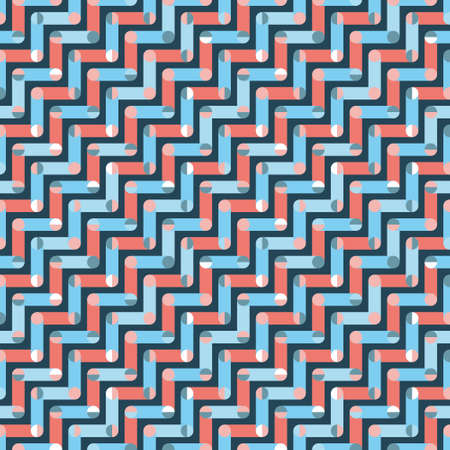 Colourful Zigzag seamless pattern with polka dots.