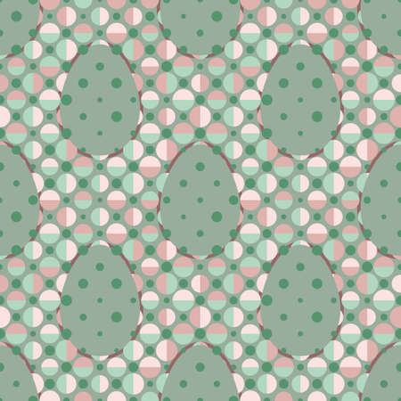 Geometric seamless vector pattern with eggs decorated with colourful circles on green and pink polka dot background. Playful seasonal design for Easter wrapping paper, posters and greeting cards. Illustration