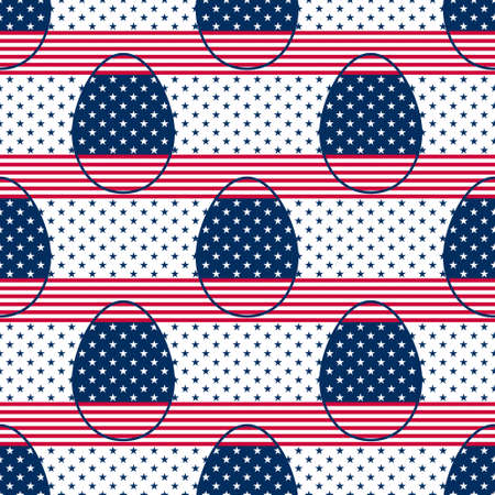 Easter Eggs seamless pattern decorated with colours and symbols of the USA flag. Geometric  background with red and white stripes and blue and white five pointed stars for wrapping paper and prints. Illustration