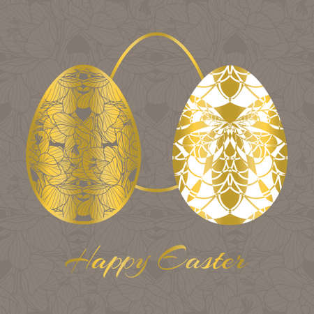 Beautiful vector Easter Eggs with a gold flower and a bee decoration on seamless monochrome floral background. Seasonal decorative greeting card with spring symbols and Happy Easter message. Illustration