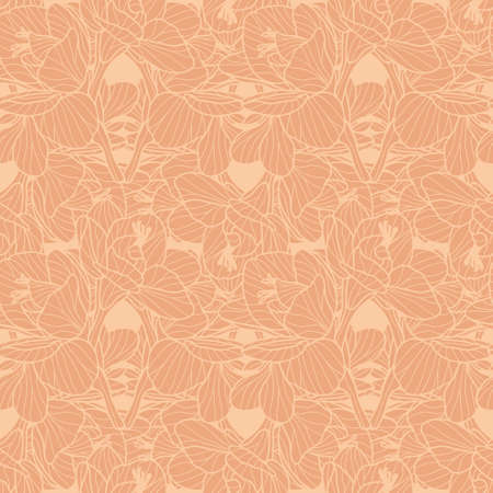 Monochrome orange Freesia seamless vector pattern. Hand drawn floral line art design great for wallpaper, interior textiles, fashion fabrics. Tessellation.