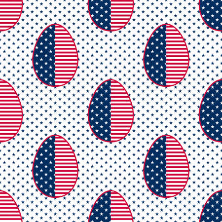 Easter seamless pattern decorated with colours and symbols of the USA flag. Geometric Eggs background with red and white stripes and blue and white five pointed stars for wrapping paper and prints.