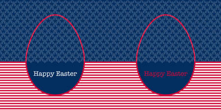 Easter Eggs seamless vector horizontal border decorated with colours and symbols of the USA flag. Geometric pattern with red and white stripes and white five pointed stars on blue background. Illustration