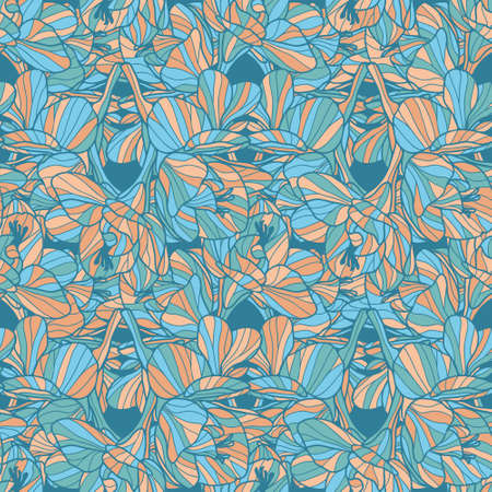 Blue and orange Freesia seamless vector pattern. Hand drawn floral line art design great for wallpaper, interior textiles, fashion fabrics. Tessellation.
