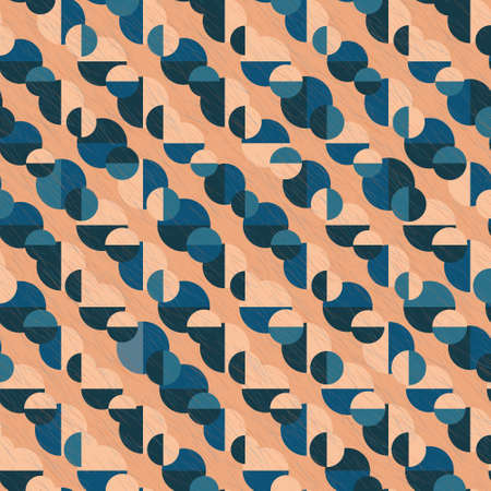 Elegant seamless geometric vector pattern with layered circles and semicircles in shades of blue and orange with scratches. Playful stylish texture for wallpaper, wrapping paper and fashion fabrics.
