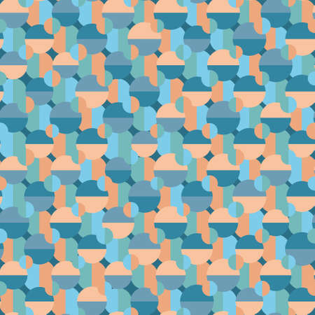 Colourful seamless geometric vector pattern with layered circles and semicircles in shades of blue and orange. Playful stylish texture for wallpaper, wrapping paper and fashion fabrics. Illustration