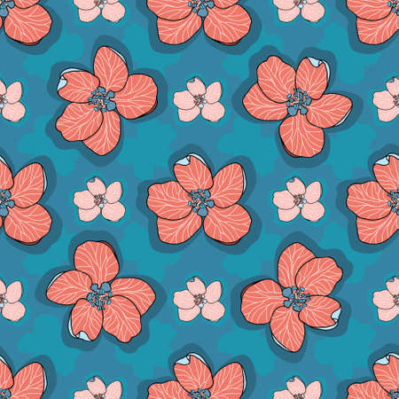 Hand drawn red and pink Apple flowers with shadows on blue background. Modern floral seamless vector pattern suitable for fashion fabrics, wallpapers, curtains and upholstery.
