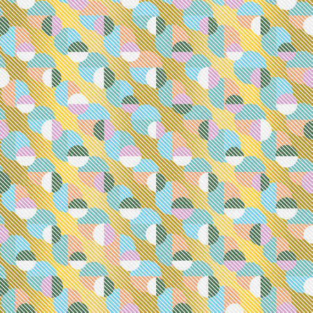 Colourful seamless geometric vector pattern with layered circles and semicircles on gold background with striped texture. Playful stylish design for wallpaper, wrapping paper and fashion fabrics.
