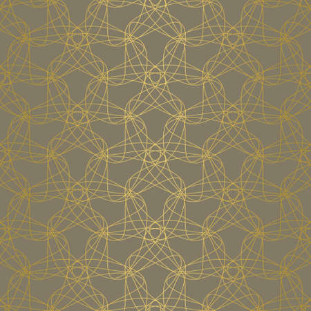 Elegant abstract seamless tangled doodle vector pattern. Gold line shapes on brown background. Tessellating pattern for fashion fabrics, wallpaper, interiors and stationary.