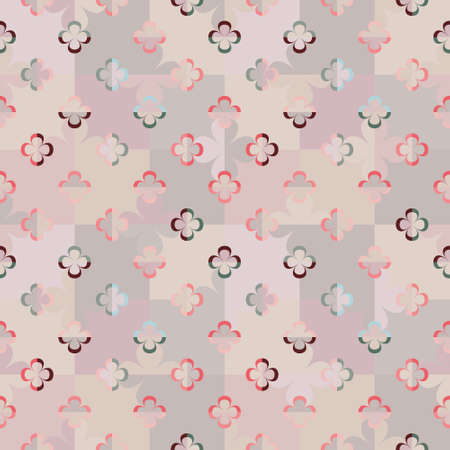 Abstract geometric seamless vector pattern with stylised big and little flowers on chessboard in retro style. Pastel decorative floral grid texture for wallpaper, interior textiles and fashion.