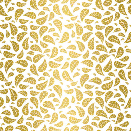 Luxurious seamless geometric pattern with scratched golden foil falling leaves on white background. Abstract elegant vector for wallpaper, wrapping paper, home decor and fashion fabrics. Illustration