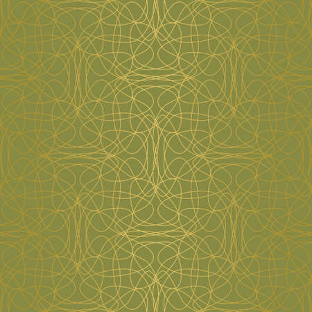 Elegant abstract seamless tangled doodle vector pattern. Gold line shapes on green background. Tessellating pattern for fashion fabrics, wallpaper, interiors and stationary.