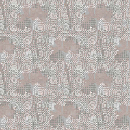 Beautiful monochrome abstract floral vector wallpaper pattern. Geometric flower silhouettes with white circular netting. Romantic background suitable for prints, interior decoration and textiles. Illustration
