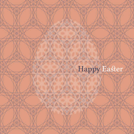 Vector white geometric lace Easter Egg on purple and orange seamless lace background. Elegant flat decorative greeting card design with Happy Easter text, can be also used for  wrapping paper.