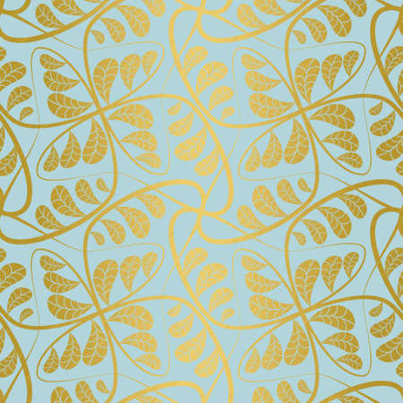 Vintage seamless pattern with gold foil hand drawn linear branches with scratched leaves on blue background. Vector illustration for fancy wallpaper, fashion fabric and wrapping paper.