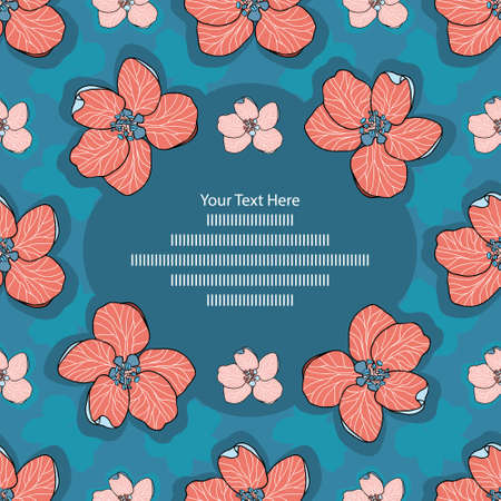 Hand drawn vector Apple flowers in blue, pink and red Frame card template - stock illustration. Can be also used for seamless gift paper. You are free to write your own text.