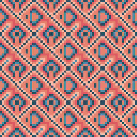 Seamless geometric vector pattern in pink, orange, red and blue in mosaic style. Decorative multicolour pattern for web, print, textile, wallpaper, card, wrapping paper and background.