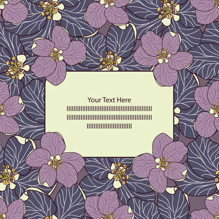 Hand drawn vector Apple flowers in blue and purple Frame card template - stock illustration. Can be also used for seamless gift paper. You are free to write your own text.
