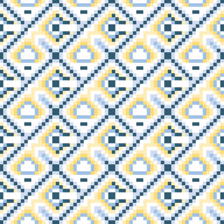 Seamless geometric vector pattern in shades of blue and yellow in mosaic style. Decorative multicolour pattern for web, print, textile, wallpaper, card, wrapping paper and background.