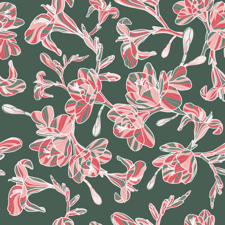 Hand drawn Freesia seamless vector pattern in pink, red and white on green background. Great for wallpaper, curtains, upholstery, wrapping paper, carpet décor and fashion.