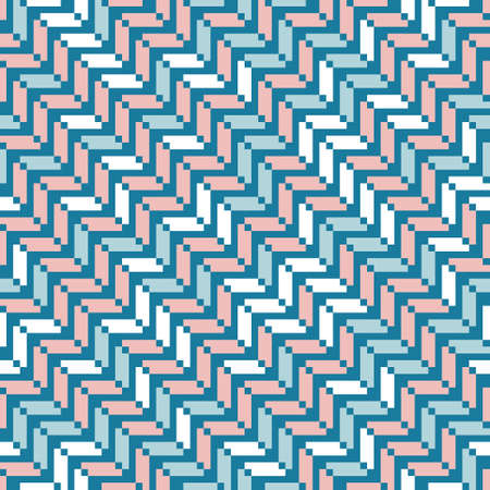 Zigzag seamless vector pattern for fashion, interior design and wallpaper. Elegant regular geometric pattern with tiled rectangles on blue background. Illustration