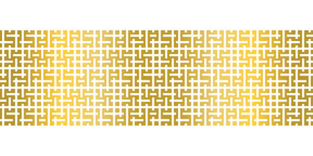 Modern simple geometric seamless vector Border with gold rectangular maze texture on white background. Suitable for wallpaper, prints, wrapping paper and web background. Illustration