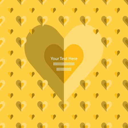 Valentine geometric Frame card template with folded Gold and yellow hearts. Decorative grid texture can be also used for seamless gift paper. Write your own Text.