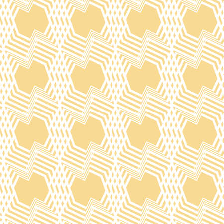 Seamless monochrome abstract geometric pattern. Vector illustration in white and yellow with line texture. Great for wallpaper, fashion and interior fabrics.