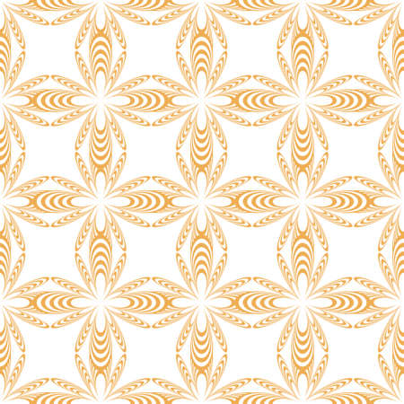 Orange and white abstract flower repeat pattern design. Great for springtime modern fabrics, wallpaper, backgrounds, invitations, packaging design projects and fashion. Illustration