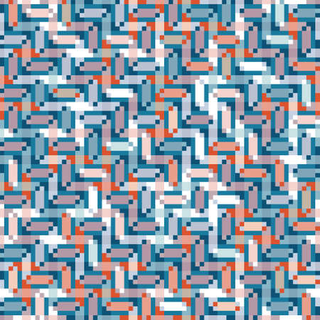 Layered Zigzag seamless vector pattern for fashion, interior design and wallpaper. Colourful regular geometric pattern with tiled rectangles on blue background.