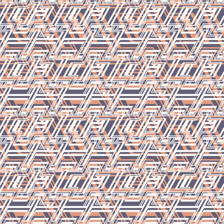 Modern geometric seamless vector texture with white cross shapes on orange and purple background. Layered pattern for fashion and interior fabrics, prints and wallpaper.