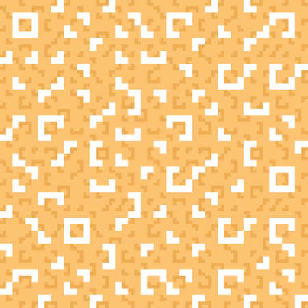 Monochrome geometric seamless vector pattern in orange and white. Simple Truchet repeat background for wallpaper, interiors, fashion and prints. Vector illustration. Illustration