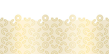 Seamless abstract gold geometric lace pattern Border - cut out lace embroidery. Horizontal Vector illustration with gold gradient  line texture on a white background.