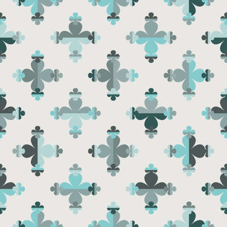 Seamless vector pattern with small and large four leaf clover symbols in shades of green. Regularly repeating geometric flower shapes for wallpaper, interior, fashion fabrics, prints and stationery.