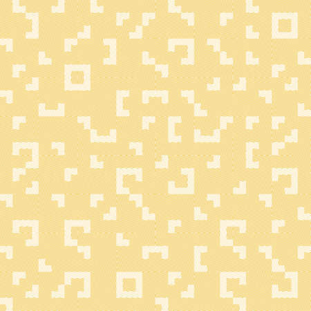 Seamless abstract geometric pattern with squares, rectangles and polygons. Vector Truchet illustration in white and yellow with line texture for wallpaper, interior and fashion fabric. Illustration