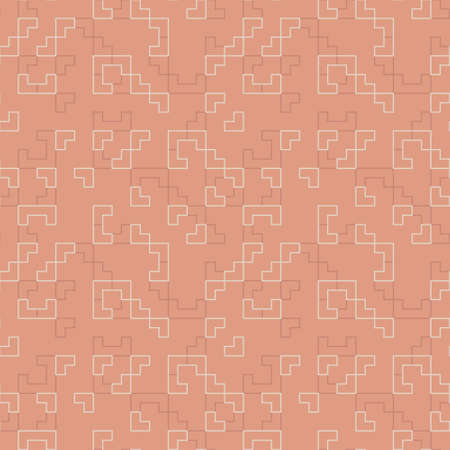 Monochrome modern seamless vector pattern with tiled geometric line shapes in orange and off-white. Truchet creative repeat background for web, interiors and fashion.