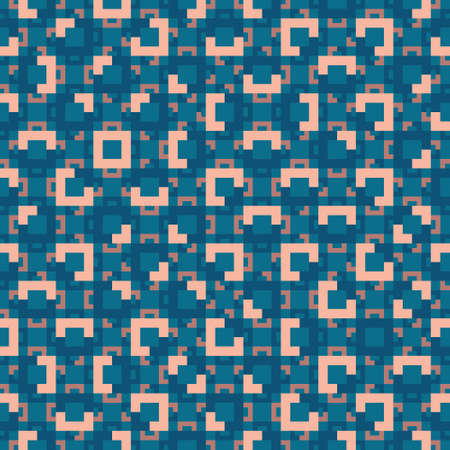 Geometric seamless vector pattern in blue, orange and pink. Simple Truchet repeat background for wallpaper, interiors, fashion and prints. Vector illustration.