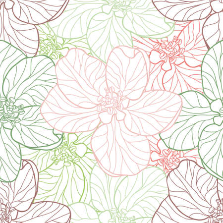 Delicate colourful Apple flowers on a white background. Seamless line art vector pattern suitable for wallpapers, home textiles and fashion fabrics. Pastel muted colour combination.