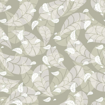 Delicate green-beige seamless geometric pattern with layered falling leaves on a green backgound. Abstract autumn vector for wallpaper, wrapping paper, home decor and fashion fabrics. Illustration