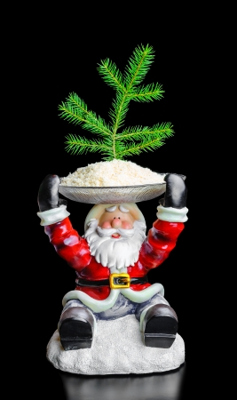 filings: Toy Santa Claus with Christmas tree on her head