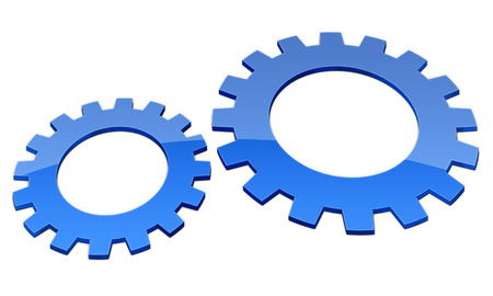 pinion: two blue gears against each other isolated on white background