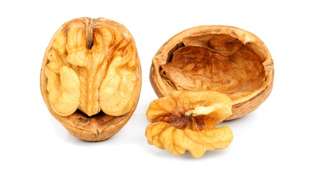 imprinted: imprinted walnuts closeup Isolated on white background