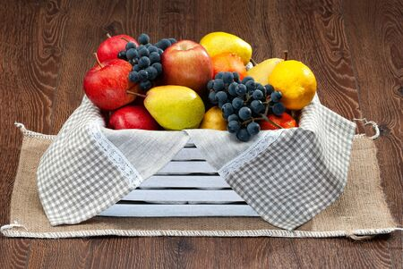 Still life collection of fresh fruits for healthy concept