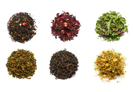 assortment of dry tea, isolated on white Foto de archivo