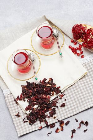 Traditional turkish tea with pomegranate seeds top view